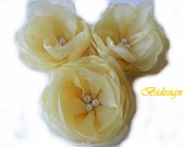 6 Pieces Yellow  Saffron Handmade Organza Flowers
