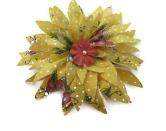 Hair Clip Yellow Tropical Flower