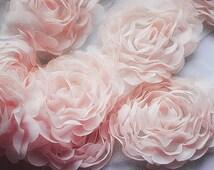 1 Yard Chiffon Rose Lace Trim Appliqué Peach Pink 3D Bridal Wedding Camellia Ruffled Flower LA017
