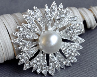 Rhinestone Brooch Component Crystal Pearl Flower Embellishment Wedding Broach Bouquet Cake Hair Comb Shoe Clip Supply BR210