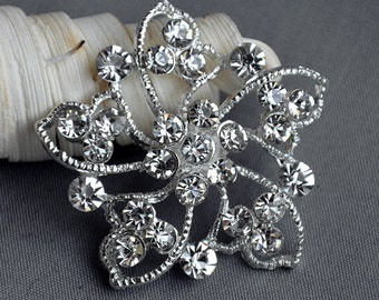5 Large Rhinestone Button Embellishment Pearl Crystal Wedding Brooch Bouquet Invitation Cake Decoration Hair Comb Clip BT398