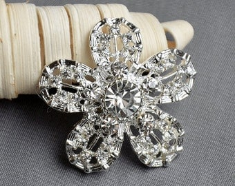 5 Large Rhinestone Button Embellishment Pearl Crystal Wedding Brooch Bouquet Invitation Cake Decoration Hair Comb Clip BT518