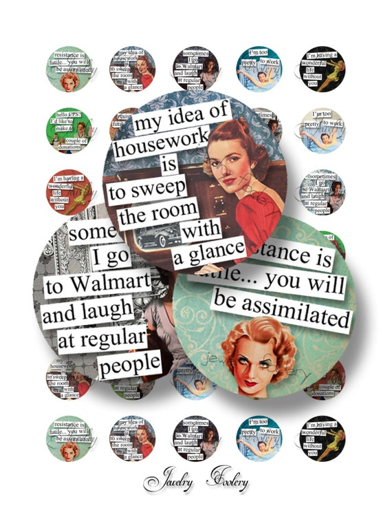 Retro Brazen Broads 1A Quotes 1 Inch Circle Digital Downloads Scrabble Tiles Digital Collage Sheet Images Words Sayings Typography
