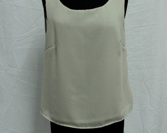 Women Ivory Chiffon Tank top, Ready made, Custom