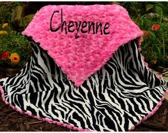 Zebra Minky Baby Blanket - Hot Pink Minky Swirl - Personalized Blanket-Baby Girl,Toddler,Teen,Adult