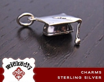 Add On - Graduation Cap Sterling Silver charm - ONE CHARM with jump ring