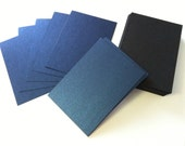 ATC ACEO Hand Cut Blanks Wausau Metallics Card Stock Paper High Quality Pack of 10 - Majestic Royal Blue on Matte Black
