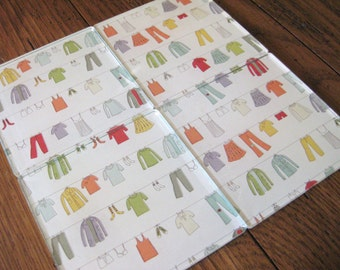 Hung Out to Dry - Colorful Clothesline Print - Square Acrylic Coasters - Set of 4