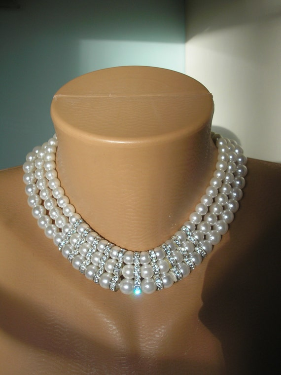 Pearl Bridal Necklace, Collar, Rhinestone, White Pearls, Wedding Jewelry, Vintage Choker, Bridal Neckace, Wedding Choker, Hollywood Glamour