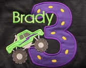 Greatstitch Digger Monster Truck 1st Birthday 2nd Birthday 3rd Birthday Shirt Boy Birthday Shirt