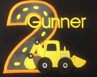 Greatstitch Digger 1st Birthday Shirt Boy 2nd Birthday 3rd Birthday Construction Shirt