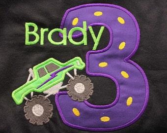 Greatstitch Digger Monster Truck 1st Birthday 2nd Birthday 3rd Birthday Shirt Boy Birthday Shirt