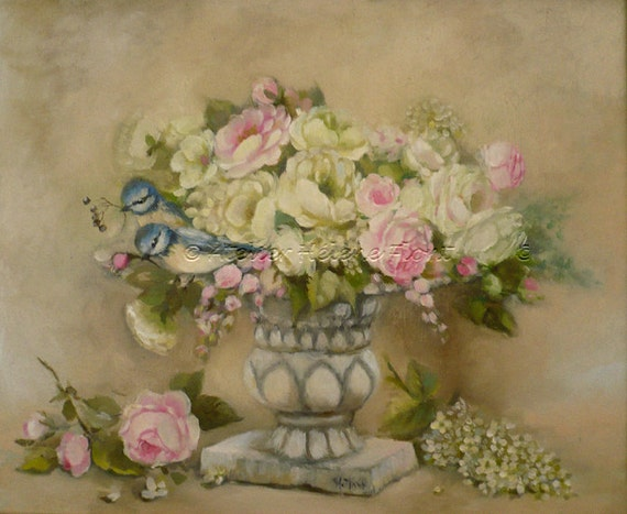Spring Bouquet : Antique vase with pale roses, white lilac and blue Tit   - Original- oil  painting  Helen Flont