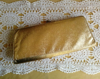 Vintage Gold Clutch 1960s 60s 1950s