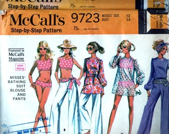 Vintage 60's McCall's 9723 Sewing Pattern -  1960's Misses' Bathing Suit, Cover Up and Hip Hugger Pants