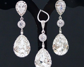 Bridal Jewelry Set Swarovski Crystal Jewelry Set Wedding Jewelry Set Bridal Party Gift Bridesmaid gifts Dangle Earrings Crystal Jewelry