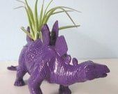 Upcycled Dinosaur Planter - Bright Purple Stegosaurus with Air Plant