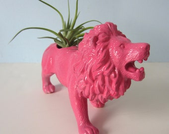 Upcycled Toy Planter - Extra Large Pink Lion with Air Plant
