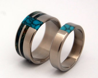 Wooden Wedding Rings, titanium rings, turquoise wedding rings, eco friendly - Blue Box Comet and Constellation w/ True North Partner -