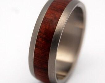 Titanium Wedding Band, bloodwood, men's wedding ring, titanium wedding ring, wood rings - EVERY DROP of BLOOD wood