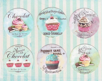 Stickers, French Desserts, Cupcakes, Sticker Seals, 18 pcs