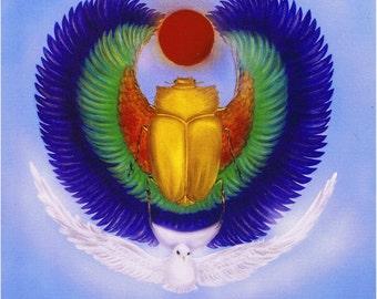Egyptian Divine Khepera  Original 8 X 10 Print