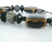 Bracelet Ceramic Ebony wood bead Bali Silver Coffee Color