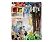 Palette Watercolor Print- Artists Paints Brushes- Primary Colors- Watercolour