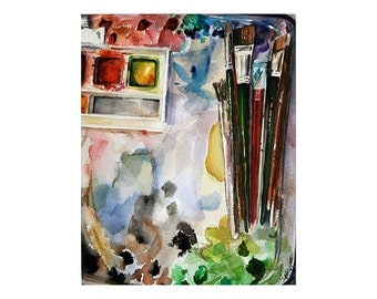 Palette Watercolor Print- Artists Paints, Artists Brushes- Primary Colors- Watercolour- Vertical