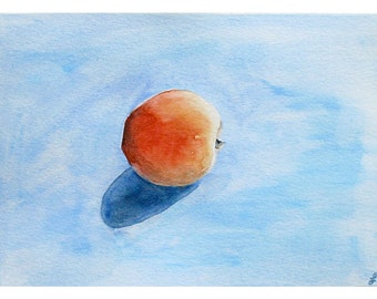 Apricot Blue Reproduction Print- 6x9- Watercolor- Still Life, Kitchen- One Apricot on Blue