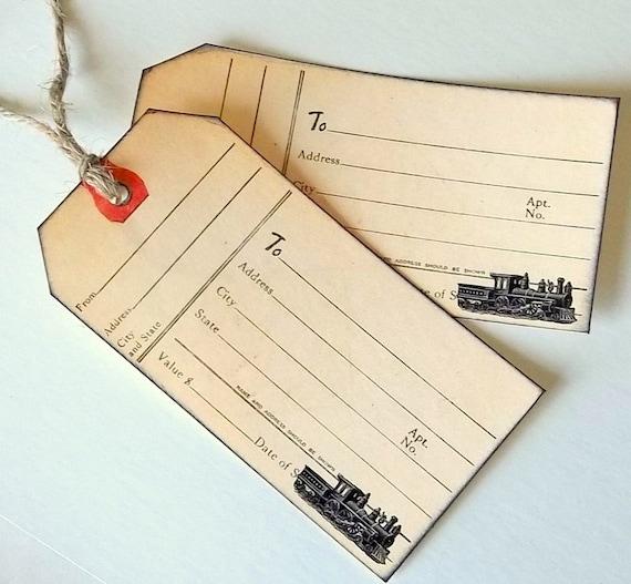 Train Luggage Tag Train Railway Tag Vintage