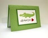 Wild About You Valentine Card, Alligator Valentine, Valentine's Day Card, Anniversary Card, Valentine's Day Cards, Happy Valentine's Day