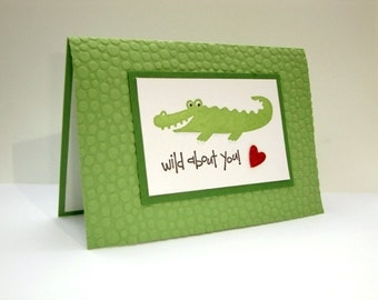 Wild About You Valentine Card, Alligator Valentine, Valentine's Day Card, Anniversary Card, Valentine's Day Cards, Happy Valentine's Day