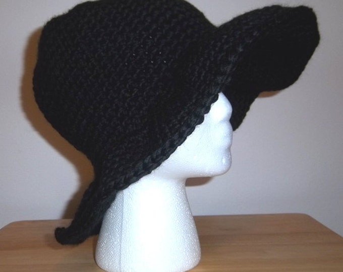 Hat - Black Crochet Hat with large Brim - Made of Super Bulky Black Acrylic Yarn