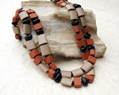 Beaded Long Earth Tones Necklace Rust Taupe Black Rustic Terracotta Ceramic Cushion Beads Sterling Silver