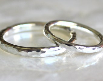 His and Hers Custom Hammer Faceted Wedding Rings of Recycled Sterling Silver - Wedding Bands, Commitment Rings, Promise Rings - Eco Friendly