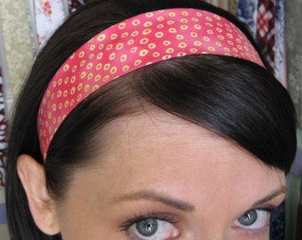 Little Yellow Circles on a Pink Stay Put Headband