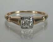 Elegant 1940s Diamond Engagement Ring - Yellow and White Gold
