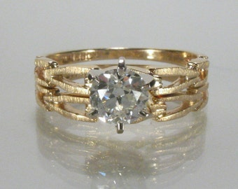 Vintage Old European Cut Diamond Wedding Ring Set - 0.65 Carat - New Condition - Appraisal Included