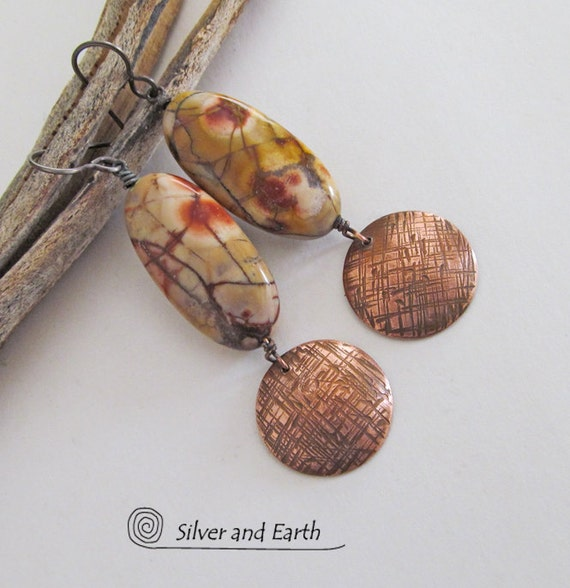 SALE - Stone Dangle Earrings, Textured Copper Earrings, Birds Eye Rhyolite, Earthy Natural Stone, Fall Autumn Colors, Etsy Sale Jewelry
