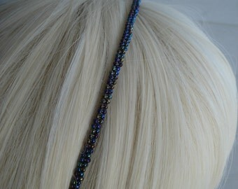 Vintage Blue Aurora Boealis Beaded Hard Headband Bridal Wedding Evening Jeweltones
