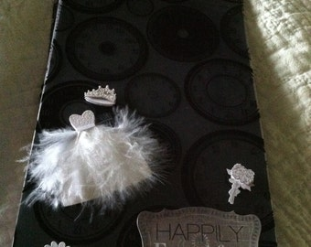 Premade Wedding Scrapbook/Mini Album Pink, Black and Grays Happily Ever After