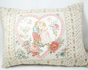 Shabby cottage love Pillow, Victorian Valentine vintage fabric, romantic chic decor, 12 x 16 inches, muted colors, includes insert