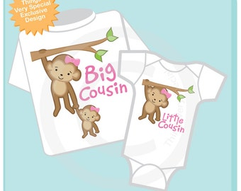 Set of Two, Big Cousin Little Cousin Shirt and Onesie with Cute Monkeys (04092013d)