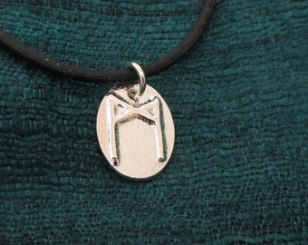 Mannaz Rune Fine Silver Pendant