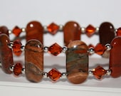 Red Creek Jasper Bracelet Double Drill Gemstone Stretch Red Brown Moss Green Copper Swarovski Crystals Sterling Silver Round Beads For Her