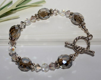 Swarovski Crystal Bracelet Purple Haze Clear Smoke Chinese Crystals Sterling Silver Rope Toggle Clasp For Her