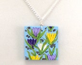 Flower Necklace, Hand Painted Jewelry, Jewelry Art, Crocus Necklace, Pastel Colors, Elegant