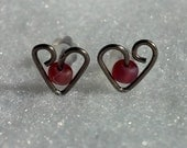 Titanium or Niobium Heart Post Earrings