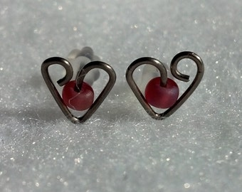 Titanium or Niobium Heart Post Earrings